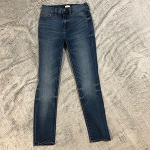 J.Crew dark wash skinny jeans.